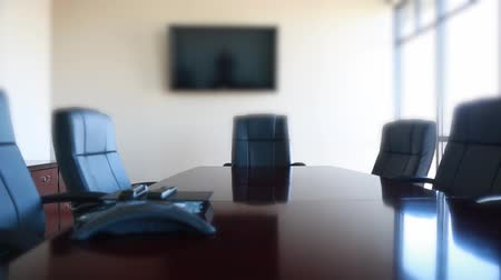 conferência : conference room chairs in office dolly shot Stock Footage