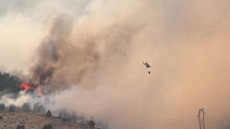 bush fire : Helicopter and wildfire Stock Footage