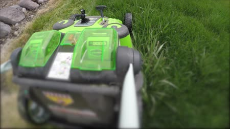 trawnik : Lawn mower mowing tall grass in the lawn Wideo