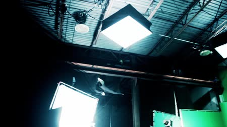lighting equipment : lighting setup on hollywood green screen sound stage