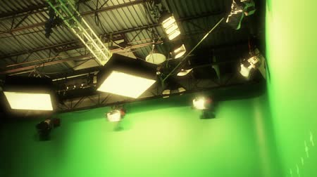 lighting equipment : lights on professional green screen film set Stock Footage
