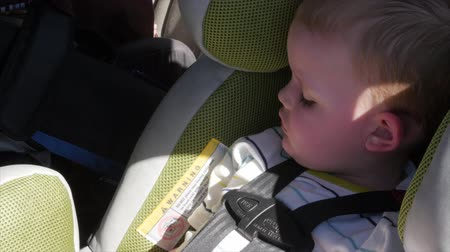 přezka : Little boy asleep in his car seat
