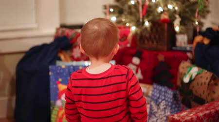metka : a little boy looking at his christmas presents under the tree Wideo
