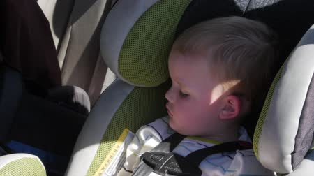 щит : A little boy sleeping in his car seat