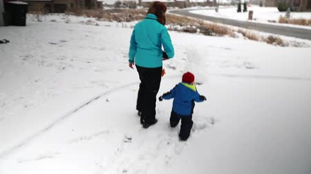 annelik : a mother and her baby boy playing in the snow Stok Video