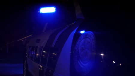 reflektor : Police car lights at an accident scene at night