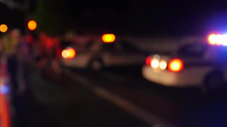 reflektor : Police cars with lights block off accident scene