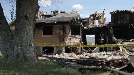 House after a big fire Stock Footage