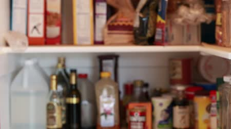 konyhai : out of focus pantry shot Stock mozgókép