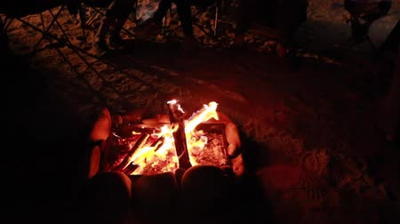 şenlik ateşi : people around a campfire at night