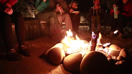 kamp ateşi : family sits around a campfire at night while camping in the desert