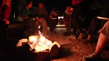 ailelerin : family sits around a campfire at night while camping in the desert