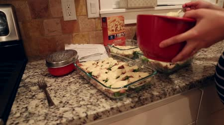 frango : pregnant woman makes a casserole