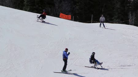 лыжник : Two quadriplegic skiers learning how to ski