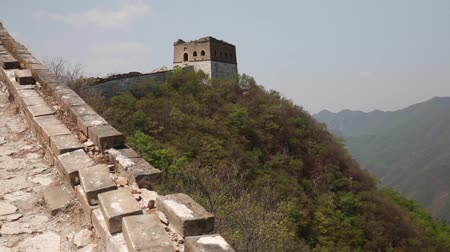 onarılmış : section of the great wall of china near beijing Stok Video