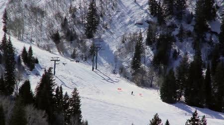 лыжник : Skiers on a hillside