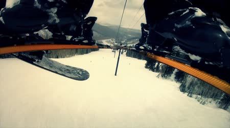 narciarz : slow motion of people downhill skiing on mountain