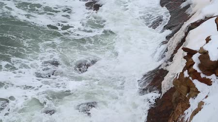 cape breton : stormy winter ocean shoreline