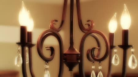 turning off : turning chandelier lights on and off Stock Footage
