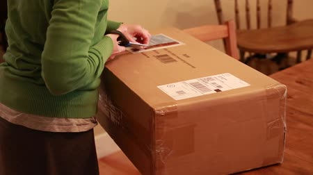 posta kutusu : woman opening package in home