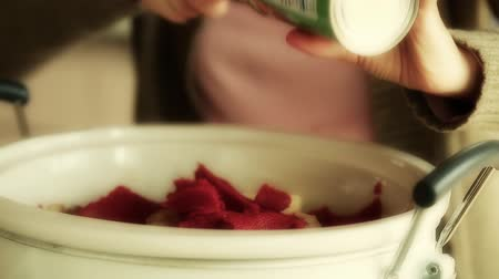 tomate : woman putting tomato paste into crockpot Vídeos