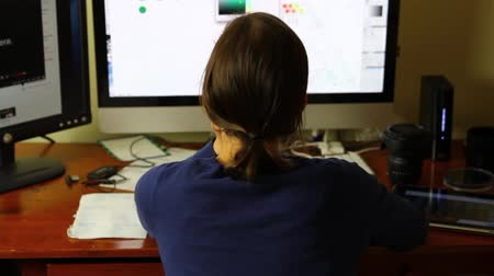 mapa : woman working in a home office on computer Wideo