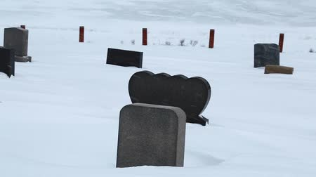 gravestone : tombstones in a graveyard during a winter storm