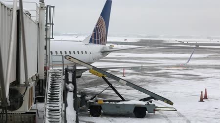 só : a snow covered airport after a winter storm