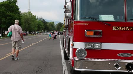 lutador : A fire engine parked on the outskirts of the Freedom Festival in Provo Utah Stock Footage