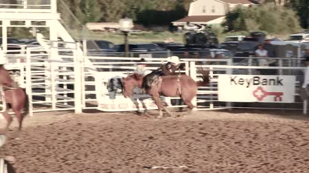 deli : A cowboy riding bareback at the rodeo Stok Video