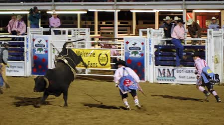 ботинок : Cowboys ride huge bucking bulls in a small town PRCA rodeo. Стоковые видеозаписи