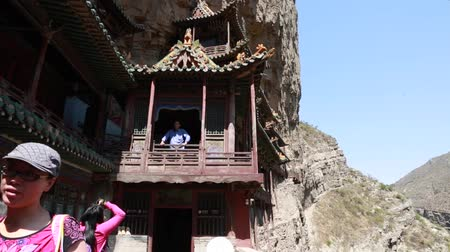 budha : Tourists in Hanging temple monastery at Datong China 2 Stock Footage