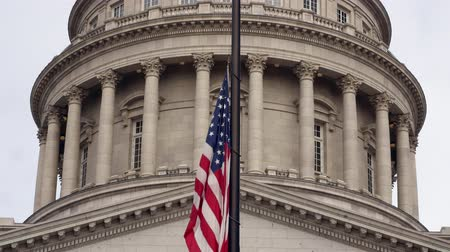 flag half mast : A static shot Utah State Capitol government building in Salt Lake Stock Footage