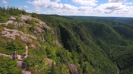 cape breton : Aerial high shot of a family above a tall cliff and a mountain forest
