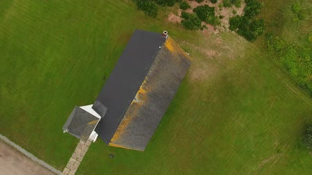 cape breton : Aerial shot above the beautiful rural church in Cape Breton Island Stock Footage