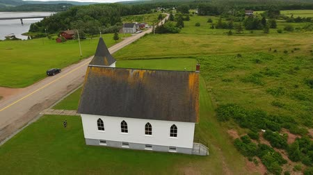 cape breton : Aerial shot at a beautiful small church at Cape Breton Island