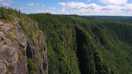 cape breton : Aerial shot cliffs over deep canyon gorge and a mountain forest Stock Footage