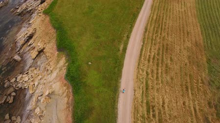cape breton : Aerial shot mother and her baby walking along rugged ocean coast
