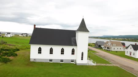 cape breton : Aerial shot of a beautiful church in Margaree Harbour Cape Breton