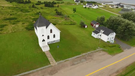 cape breton : Aerial shot of a beautiful rural church on a coastline