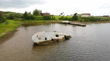 unlucky : Aerial shot of sunken fishing boat at Cape Breton Island