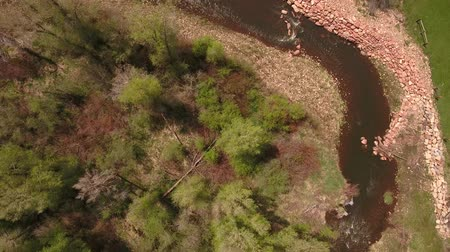 patak : Amazing aerial shot above river in green springtime