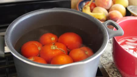 ocet : Boiling tomatos for salsa in a pot