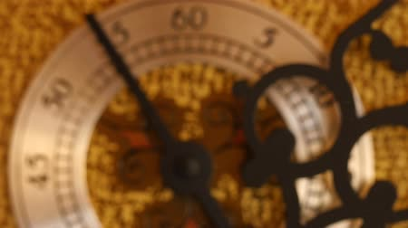 horas : Closeup dolly shot of the second hand on grandfather clock Stock Footage