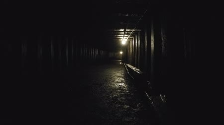 underground : Deep tunnel inside a dark coal mine at glace bay Stock Footage