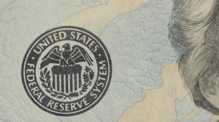 yirmi : Federal reserve sign on a US twenty dollar bill