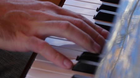 martelo : Fingers playing the keys of a beautiful black grand piano Stock Footage