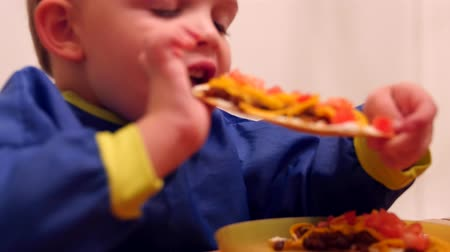 calcário : Little boy eats a taco for dinner