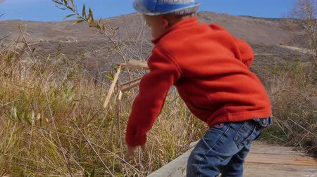 komar : Little boy playing on a nature trail gimbal shot