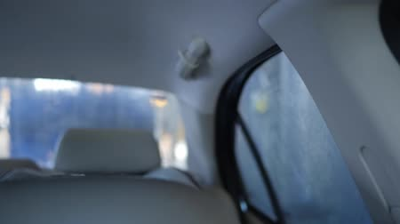 cleaner : Looking in back of interior car at a car wash